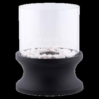Bioetanola XL kamīns melns apaļš 20cm stikls 30cm augsts + akmens apdare