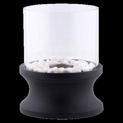 Bioethanol XL sfeerhaard zwart rond 20cm glas 30cm hoog + stenen decoratie